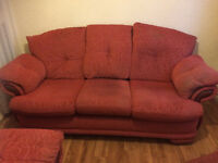 Three seater settee and one armchair