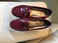 Shuropody Burgundy Mock Croc Loafers - UK6
