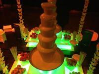 chocolate fountain popcorn machine candy floss nachos hot dogs sweet cart fruit tree bouncy castle