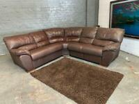 BROWN LEATHER CORNER SOFA PRE-OWNED