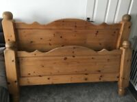 Chunky solid pine kingsize bedframe