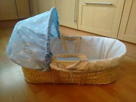 Clair De Lune Moses basket + rocking stand, mattresses, spares