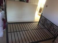 Heavy Iron Double bed with Tempur mattress & side tables
