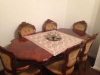 BRAND NEW CON SOLID OAK DINING TABLE 6 CHAIRS INCLUDED