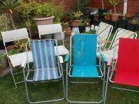 7 ASSORTED ARMED GARDEN CHAIRS