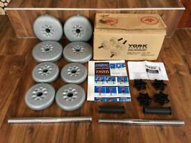 York Fitness 15kg vinyl spinlock dumbbell set