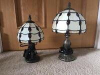 2 Tiffany Lamps/lights, red and cream/white