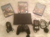 Black Sony PlayStation 2 slimline call of duty