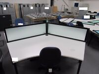 Contemporary design 3-person Workstation with 3 chairs and partitions