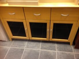 SOKLID WOOD AND BLACK GLASS SIDEBOARD WITH 3 DEEP DRAWERS AND 3 DOORS