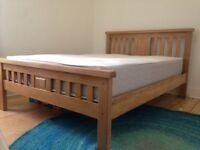 Natural oak double bed frame