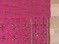Pink Beaded Sequin Crepe Saree