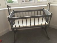 Swinging Victorian style crib in grey