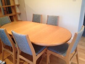 Solid wood Scandinavian dining table & 6 chairs