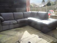 Dfs brown real leather corner sofa/ can deliver