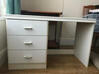 1 dressing table and 2 single wardrobes white
