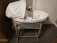 Moses basket 2X stands and unused bedding and vest