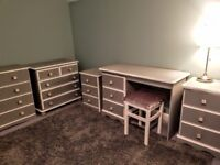 Bedroom furniture. Dressing table. Bedside drawers. Large chest of drawers ×2..Grey and white.