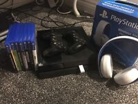 PlayStation 4 with 2 controllers, official headset & games