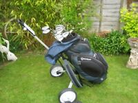 TAYLOR MADE RAC GOLF CLUBS IN BAG WITH TROLLEY