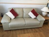 2 Seater +3 Seater sofas, Leather, Stone Colour, Good condition