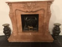 Exceptional Louis style Spanish pink marble fireplace, insert and hearth.