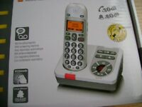 Home cordless phone answer machine with hearing aid boost