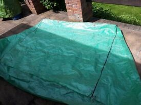 Garden swing cover approx H160cm W183cm D120cm. Good condition , no holes rips or tears
