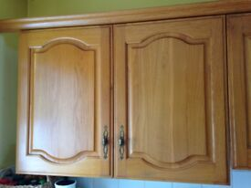 Solid oak kitchen doors/drawers with decorative brass style handles