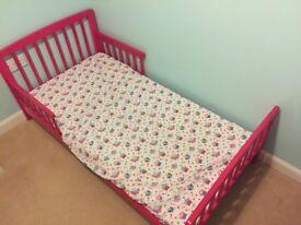 Pink Toddler Bed Frame and John Lewis Mattress