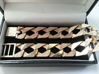 Mens, Solid 9ct Yellow Gold Square Curb Bracelet.