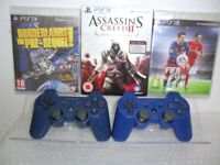 Sony PS3 Sixaxis Dual Shock 3 Wireless Controller (BLUE) + 3 PS3 Games(It