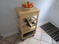 Wooden Kitchen Storage Unit / Wine & Vegetable Rack / Table -- Pine 88cm x 48cm x 38cm