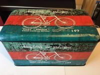 Bike design rectangle tin storage ottoman set