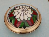 Tiffany style light shade. Red, green, cream and blue. Excellent condition.
