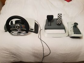 Official x box 360 steering wheel set complete with pedals & mounting bracket