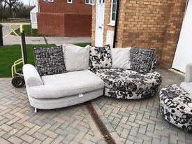 Sofa with swivel chair and puff