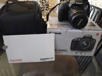Cannon eos 2000d never used comes with memory card and carry case