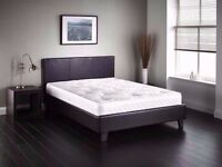**FREE LONDON DELIVERY** NEW Double / Small Double Leather Bed w/ 11inch Royal Orthopedic Mattress