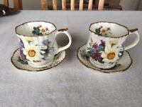 Staffordshire Hand Painted Fine Bone China Tea Cups x2