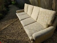 Sofa, 4 seater setee in cream cloth. Very tidy and quality.