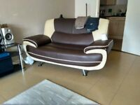 Brown and cream leather 2 seater sofa