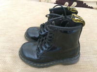 Dr Martens kids size 7 Delany black patent with side zip