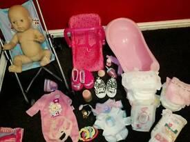 Baby Annabell doll pram bath carrier clothes accessories