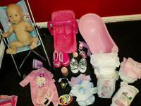Baby Annabell doll pram bath carrier clothes accessories