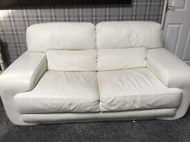 Cream/white leather sofa