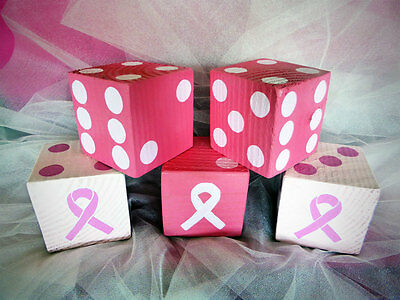 1 Jumbo Lawn Yard Wood DICE - BREAST CANCER AWARENESS Yahtzee,Bunco,Yardzee...