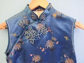 Blue Satin Authentic Chinese Dress