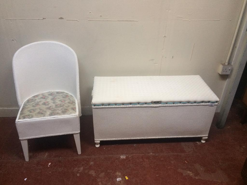 Vintage Lloyd loom style bedroom chair and ottoman