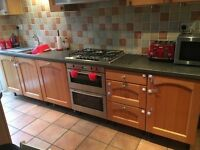 Kitchen base and wall units, worktop x2, neff electric double oven, neff gas hob and extractor
